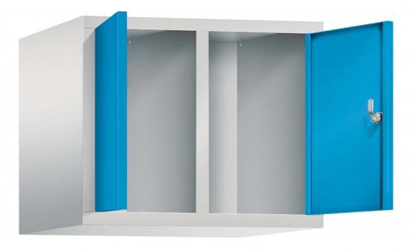 Spind Aufsatzschrank Comfort zueinanderschlagend 2 Türen (300mm) Lichtblau