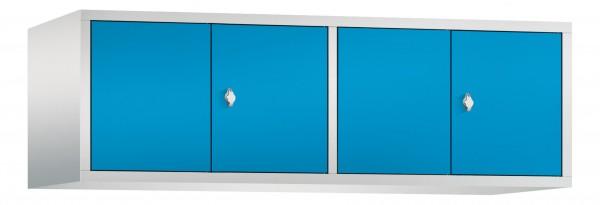 Spind Aufsatzschrank Comfort zueinanderschlagend 4 Türen (400mm) Lichtblau