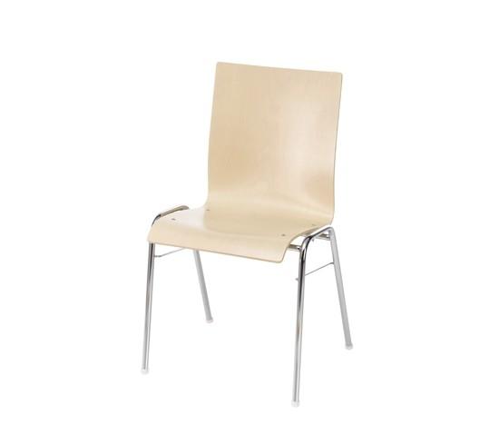 Stapelstuhl Straight mit Sitz- und Rückenschale aus Holz
